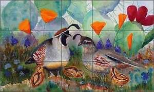 Ceramic-Tile-Mural-Kitchen-Backsplash-Libby-Southwest-Quail-Floral-Art-SLA001
