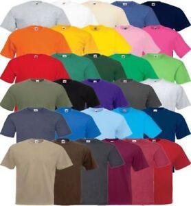 Fruit-of-the-Loom-100-Algodon-Llano-Blanco-para-Hombre-Mujer-Camiseta-Camisetas-Top-T-Shirt