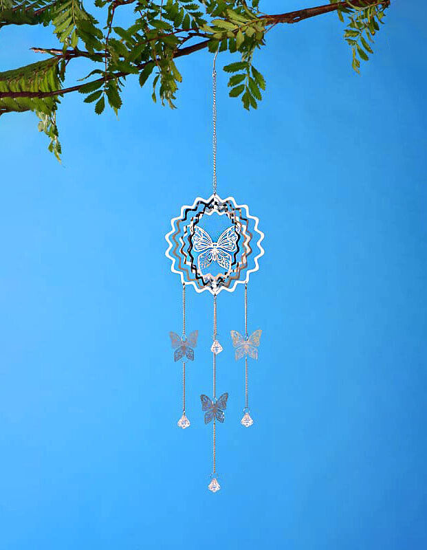 Wind Chime Spinner Dream Catcher Tree of Life Hanging Garden Porch Silver Chrome