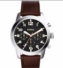 Fossil FS5143 Men's Chronograph Pilot 54 Dark Brown Leather Strap Watch