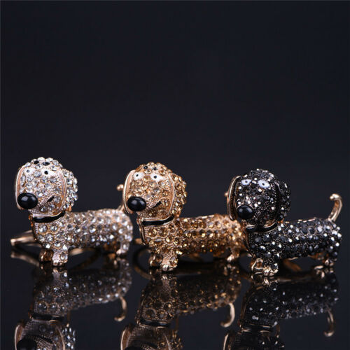 Bling Crystal Dog Dachshund Keychain Purse Pendant Car Holder Key Ring Nice JX
