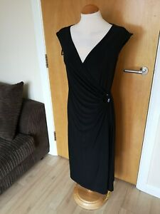 Ladies-WARDROBE-Dress-Size-14-Black-Stretch-Ruched-Front-Smart-Party-Evening