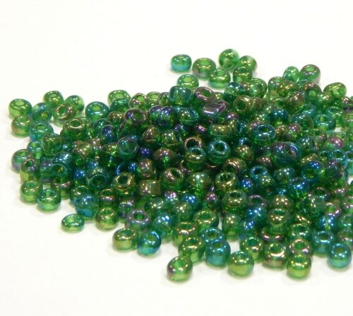 Cuentas de vidrio Rocailles 4mm 6//0 verde a partir de Rainbow plata sangría 450g joyas Best a238