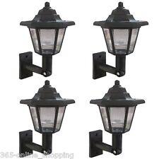 X4 LED ENERGIA SOLARE LANTERNA DA MURO LAMPADA SOLE LUCI NERO DA ESTERNO