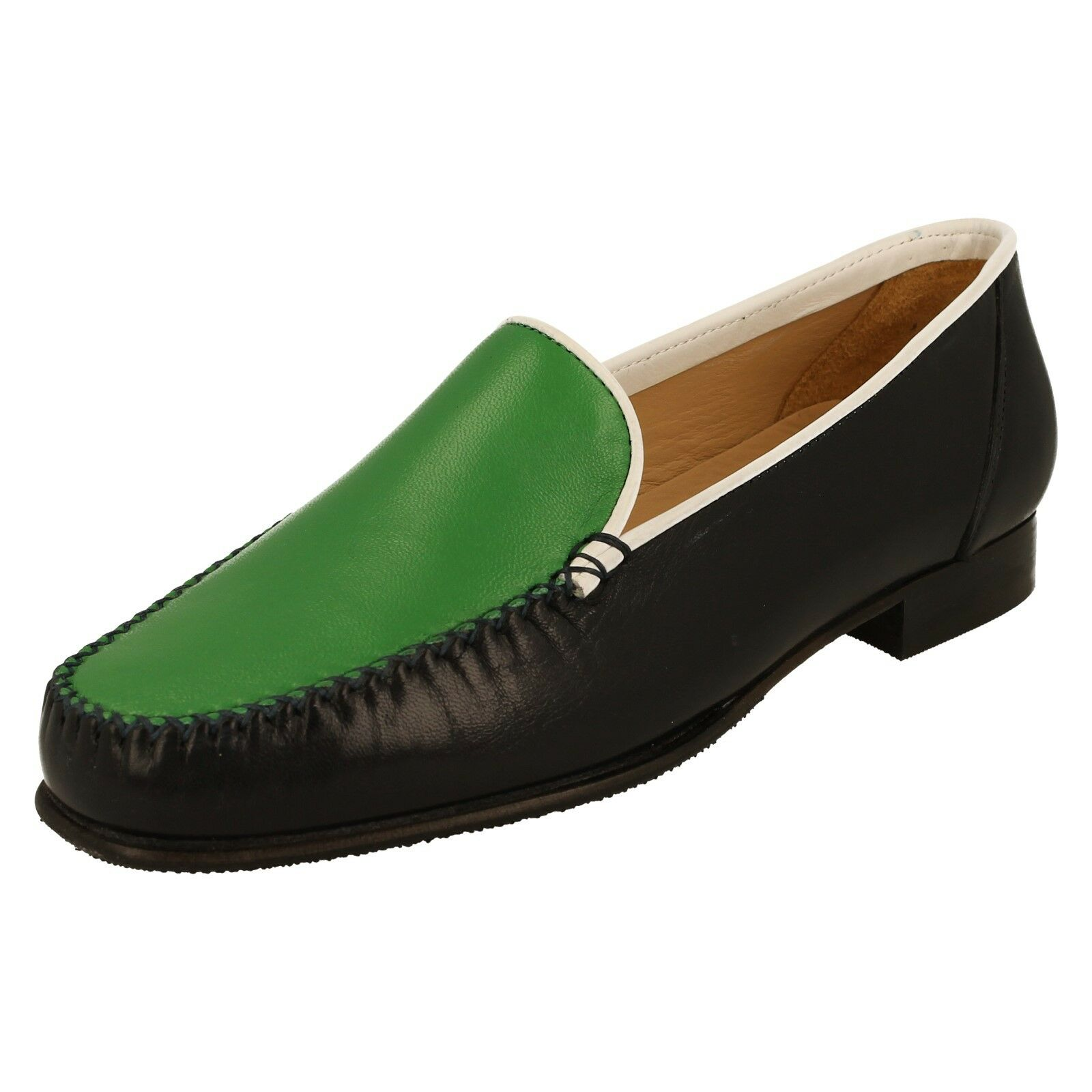 HB Ladies Shoes Style-201 Navy-Green-White Moccasin Slip On