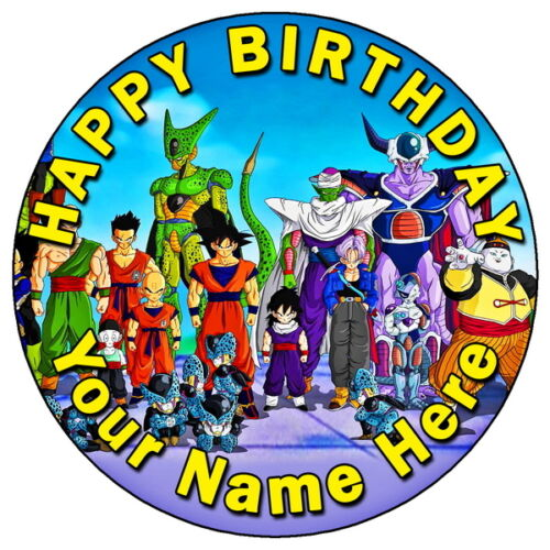 DRAGON BALL Z - GOKU PICCOLO 7.5 PERSONALISED ROUND EDIBLE ICING CAKE TOPPER