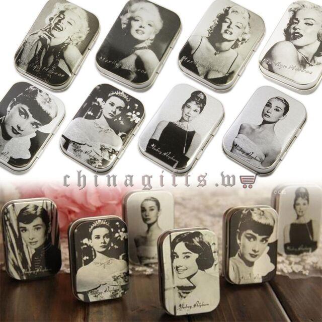 Small Tin Storage Box Jewelry Vintage Icon Rectangular Gift Case Metal Jars