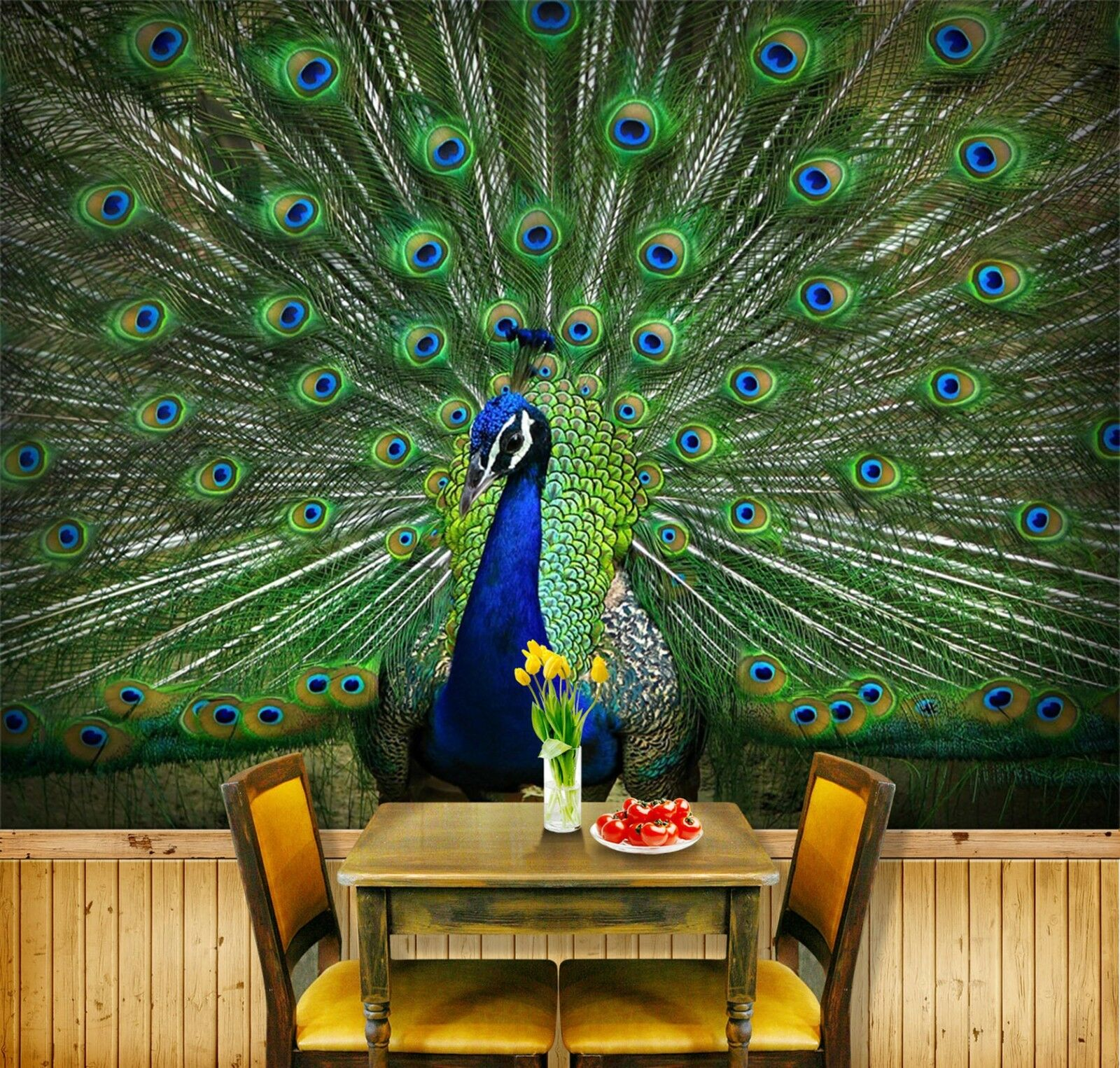 3D Pfau Muster Tier Natur 8484 Tapete Wandgemälde Tapeten Bild Familie DE Lemon