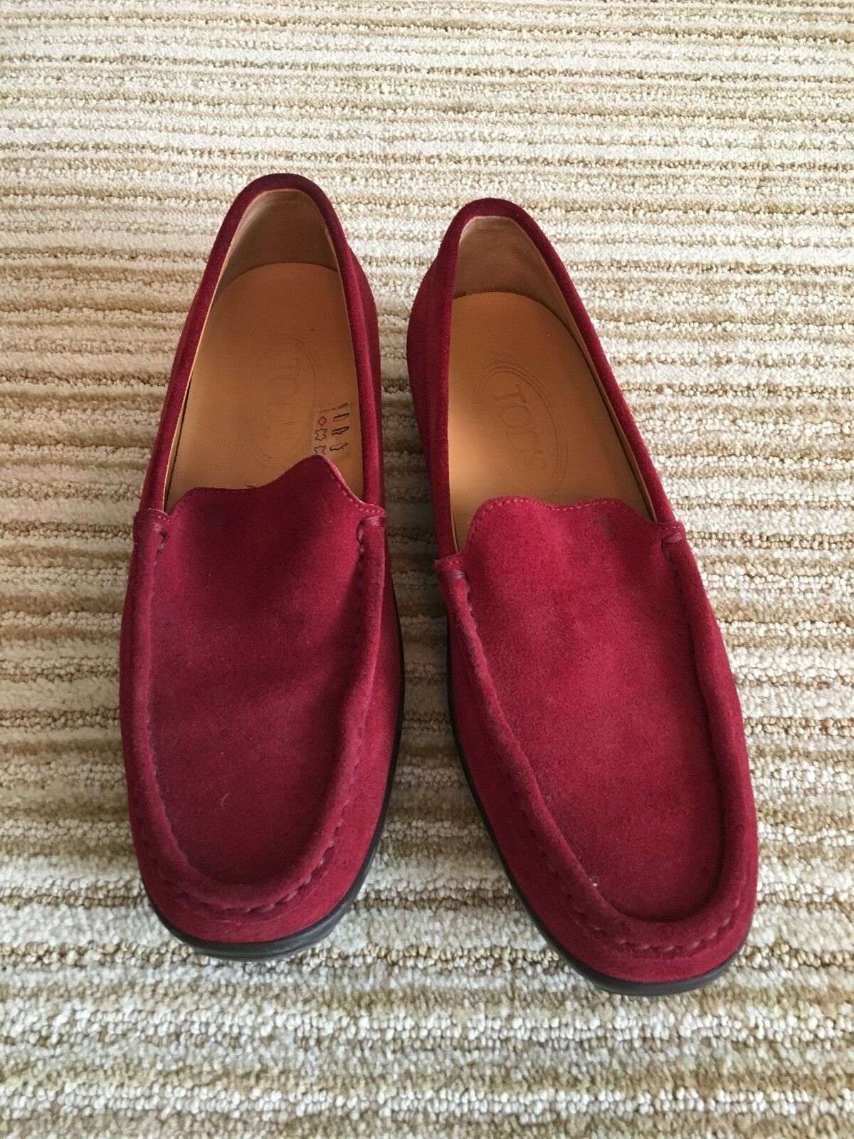 TOD'S GOMMINO Conduite Chaussures-Mocassins-rouge en daim-taille 9.5 - Made in