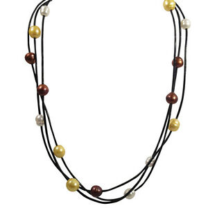 18-inch-White-amp-Gold-Freshwater-Pearls-Leather-multi-strand-necklace