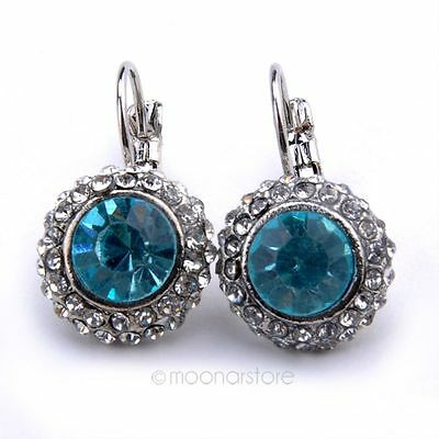 Retro Fashion Lady Crystal Rhinestone Dangle Drop Hook Earrings Ear Stud Jewelry
