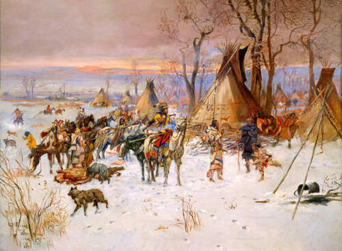 """Charles Russell /""""Return of the Hunters/"""" Indian Camp"""