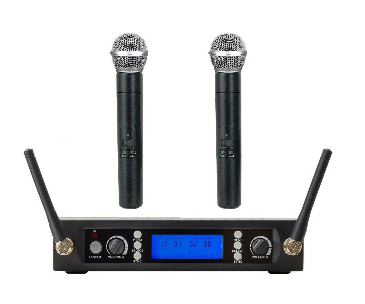 Wireless Microphone System UHF Metal Receiver 2 Handheld Radio Microphone mic