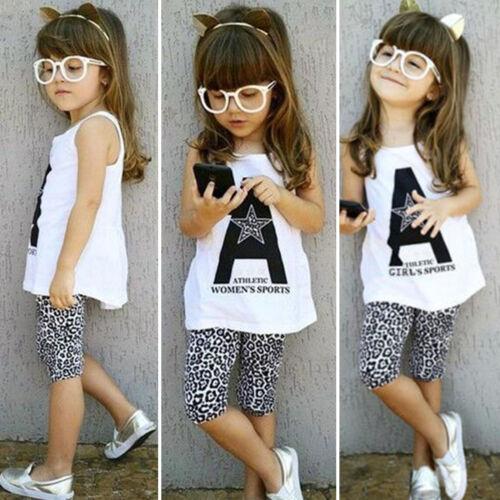 Kleinkind Kinder Baby Mädchen T-shirt Weste Tops Hosen Leggings Outfits Sets