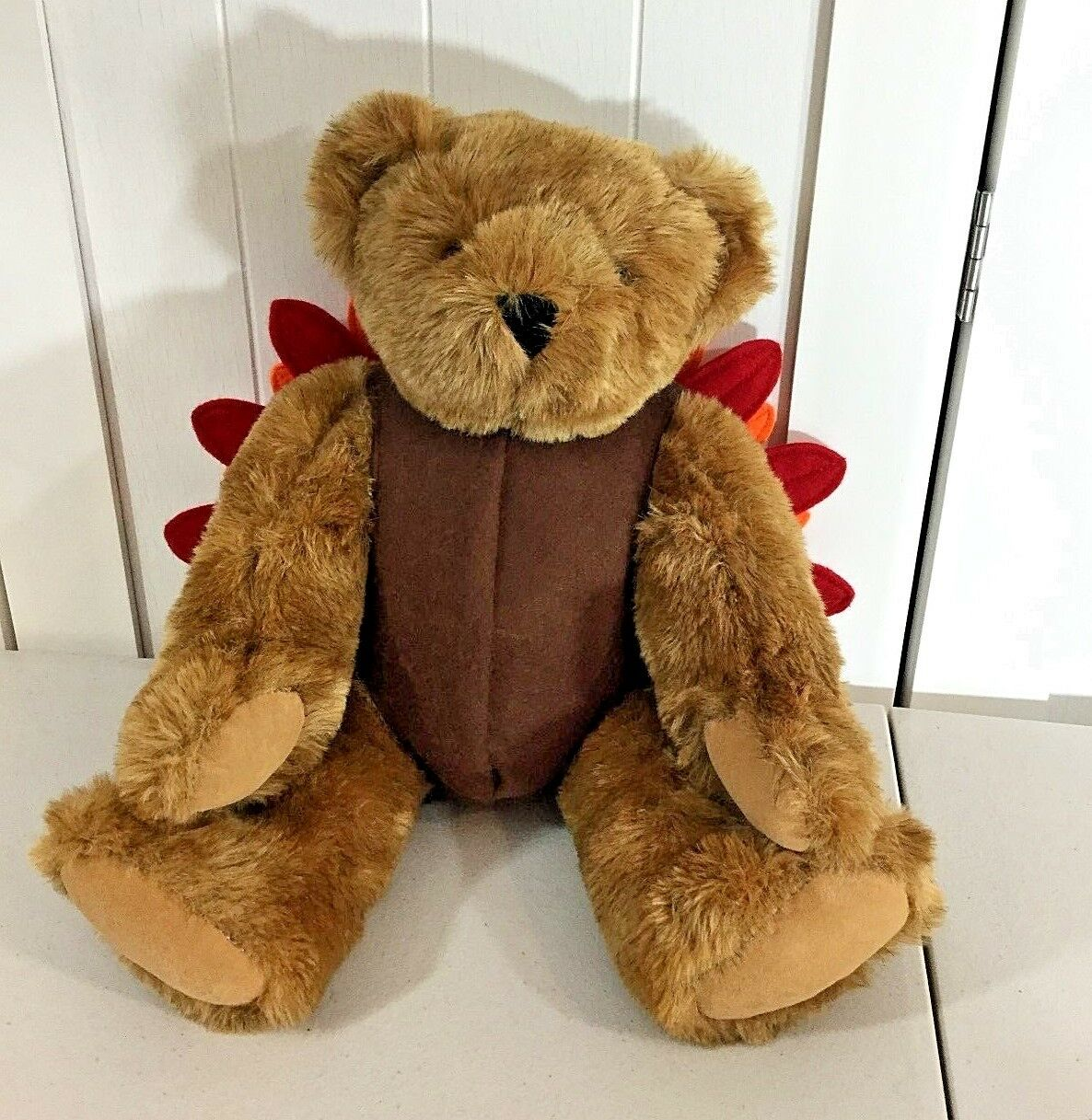Vermont Teddy Bear Turkey Fall Thanksgiving Plush 16  Tall Fully Jointed HTF