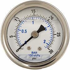 Liquid Filled Pressure Gauge 0 30 Psi 15 Face 18 Npt Back Mount
