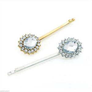 2 X Big Gold Silver Oval Jewel Diamante Kirby Grips Bridal Crystal Clips Slides