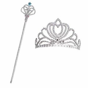 Infantil Princesa De Cuento Hadas Plata Varita Corona Reina Disfraz
