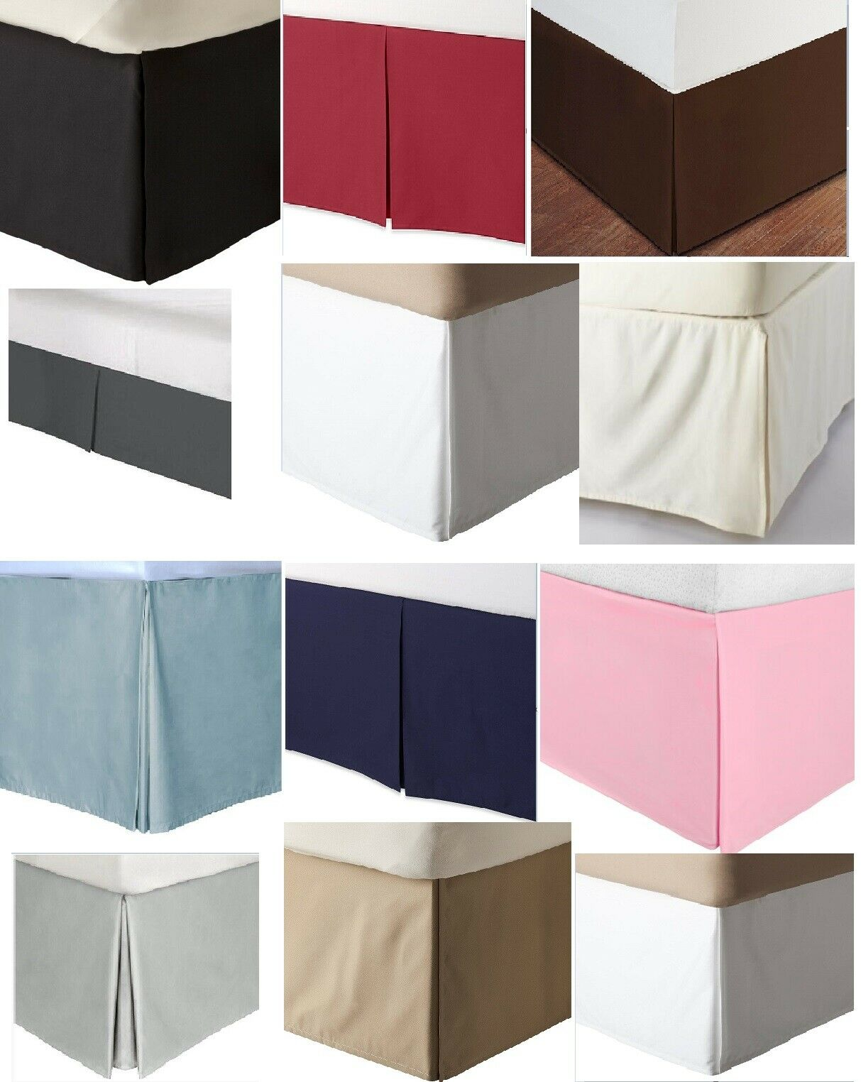 Split Corner Tailored Bed Skirt 610 TC Solid Cotton US Bed Size Drop 10  11  12