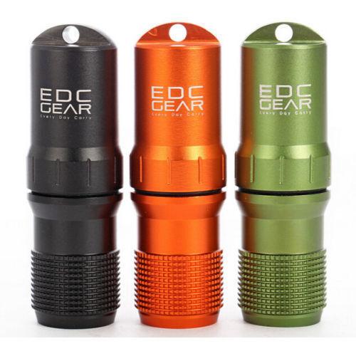 Waterproof CNC Keyring Aluminum EDC Survival Pill/Match Case Box Container Lid