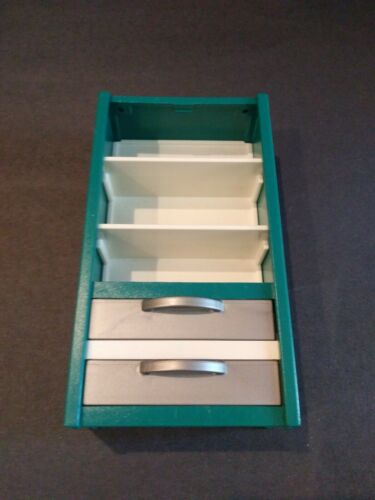 Playmobil Green And White Shelves With Two Drawers