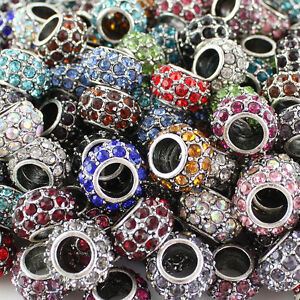 10X-Czech-Crystal-Rhinestone-Silver-Big-Hole-Spacer-European-Charm-Beads-8x12mm
