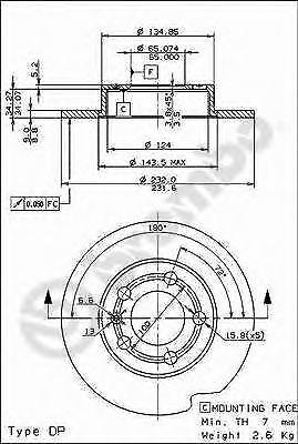 1.6 101 hp 74 kW 1595 cc BREMBO Dischi freno Post 08.7165.11 AUDI A3 8L1