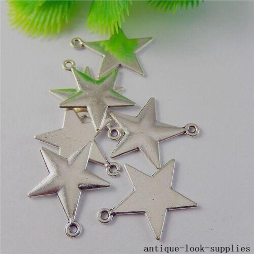 Vintage Aleación De Plata De Cinco Puntos Estrellas Colgantes Dijes artesanía encontrar 20 Piezas 50813