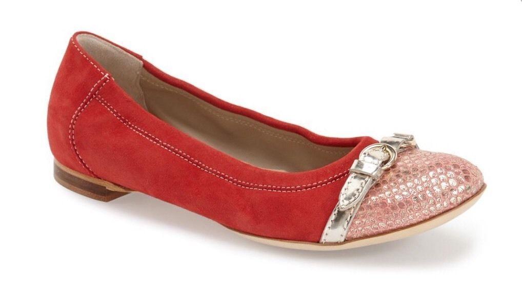 NIB AGL Attilio Giusti Leombruni Cap Toe Suede Ballet Flat shoes Salmon 7   37
