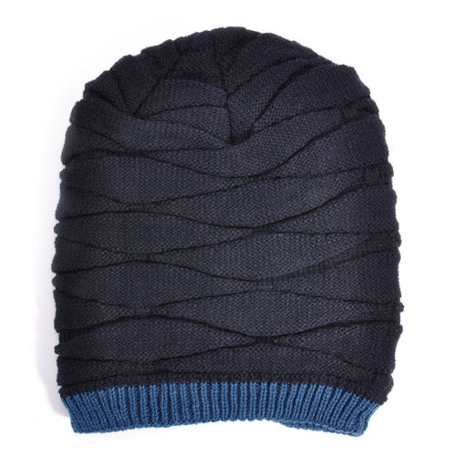 Men Fashion Crochet Knit Plicate Baggy Beanie Wool Hat Skull Winter Warm Cap
