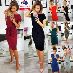 Women-Summer-Short-Sleeve-Dress-Lace-Up-Pocket-Casual-Evening-Party-Formal-Dress