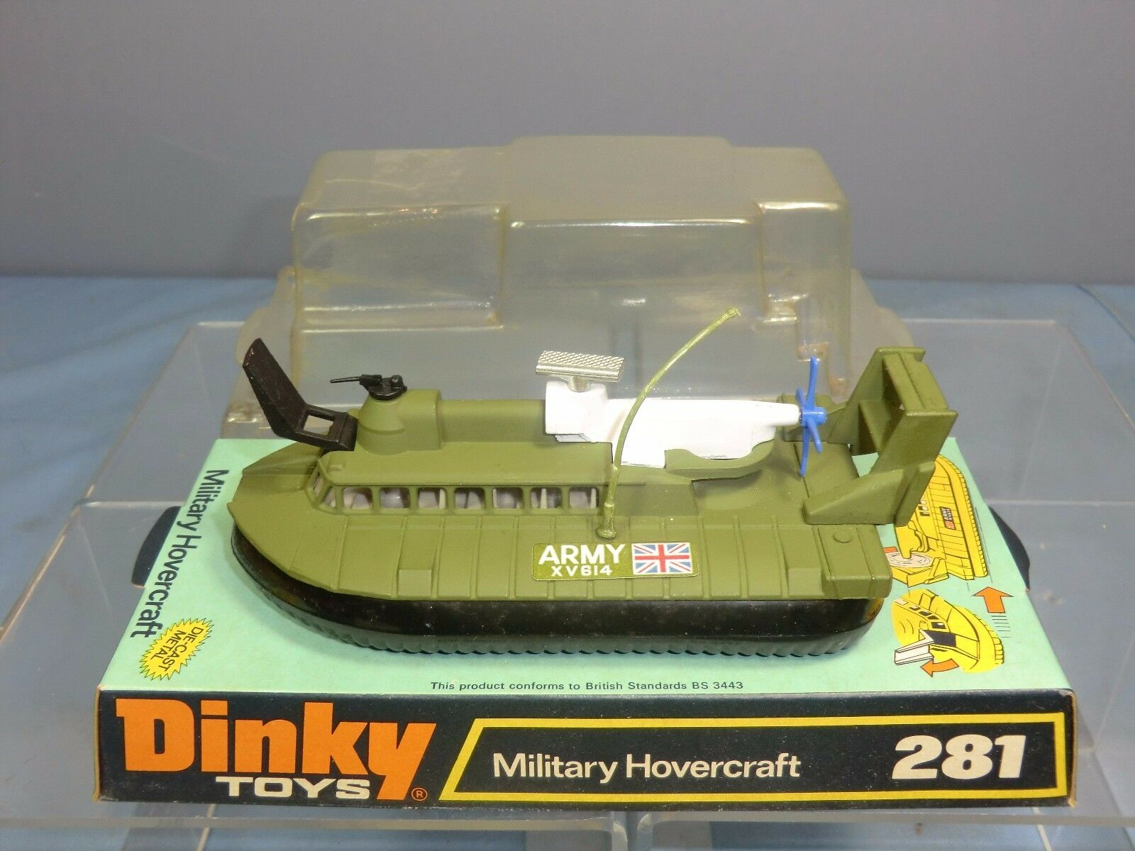 VINTAGE DINKY TOYS MODEL No.281  S.R.N.6    MILITARY  HOVERCRAFT      VN MIB