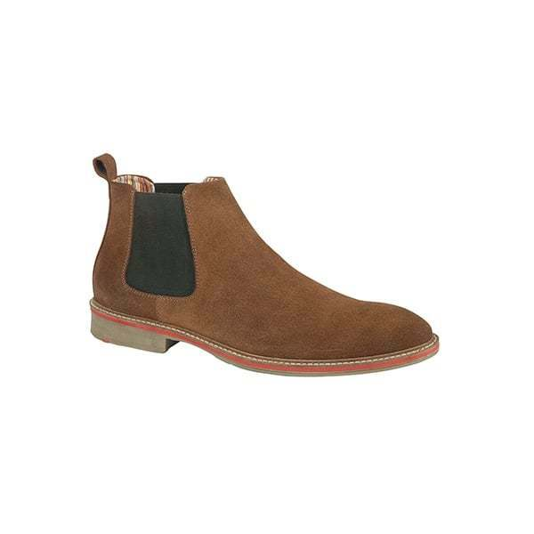 Roamers CALDWELL Mens Breathable Suede Leather Slip On Chelsea Stiefel braun