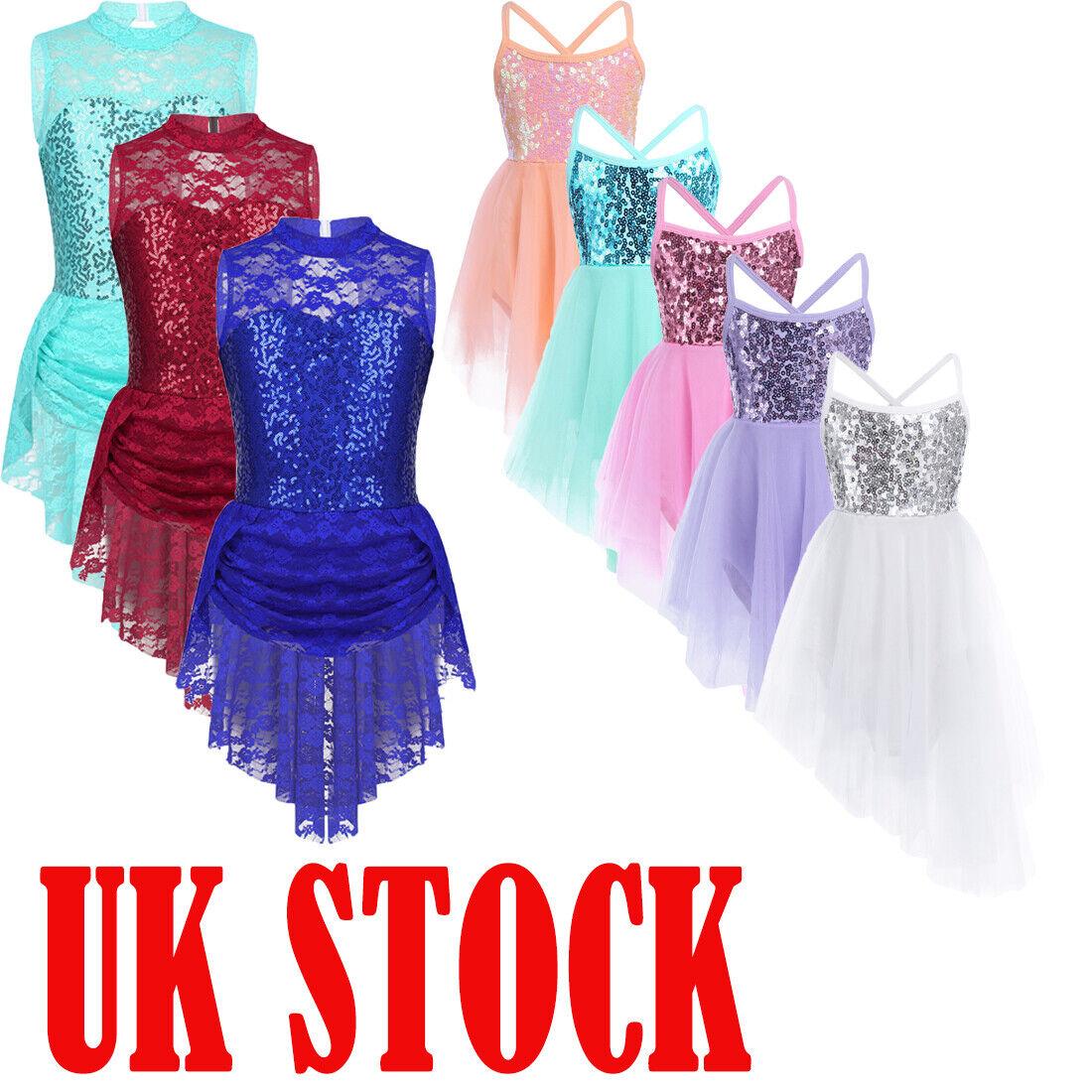 UK Girls Shiny Latin Dance Dress Kid Ballet Tutu Mesh Leotard Skirt Gym Costume