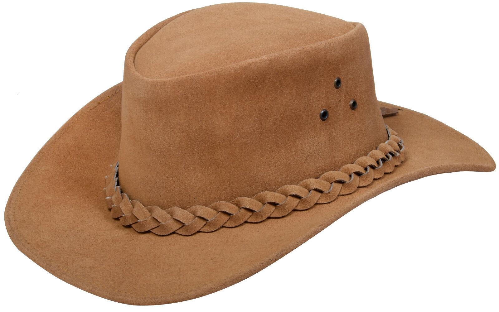 Australian Tan Western Style Cowboy Outback Genuine Suede Leather Aussie