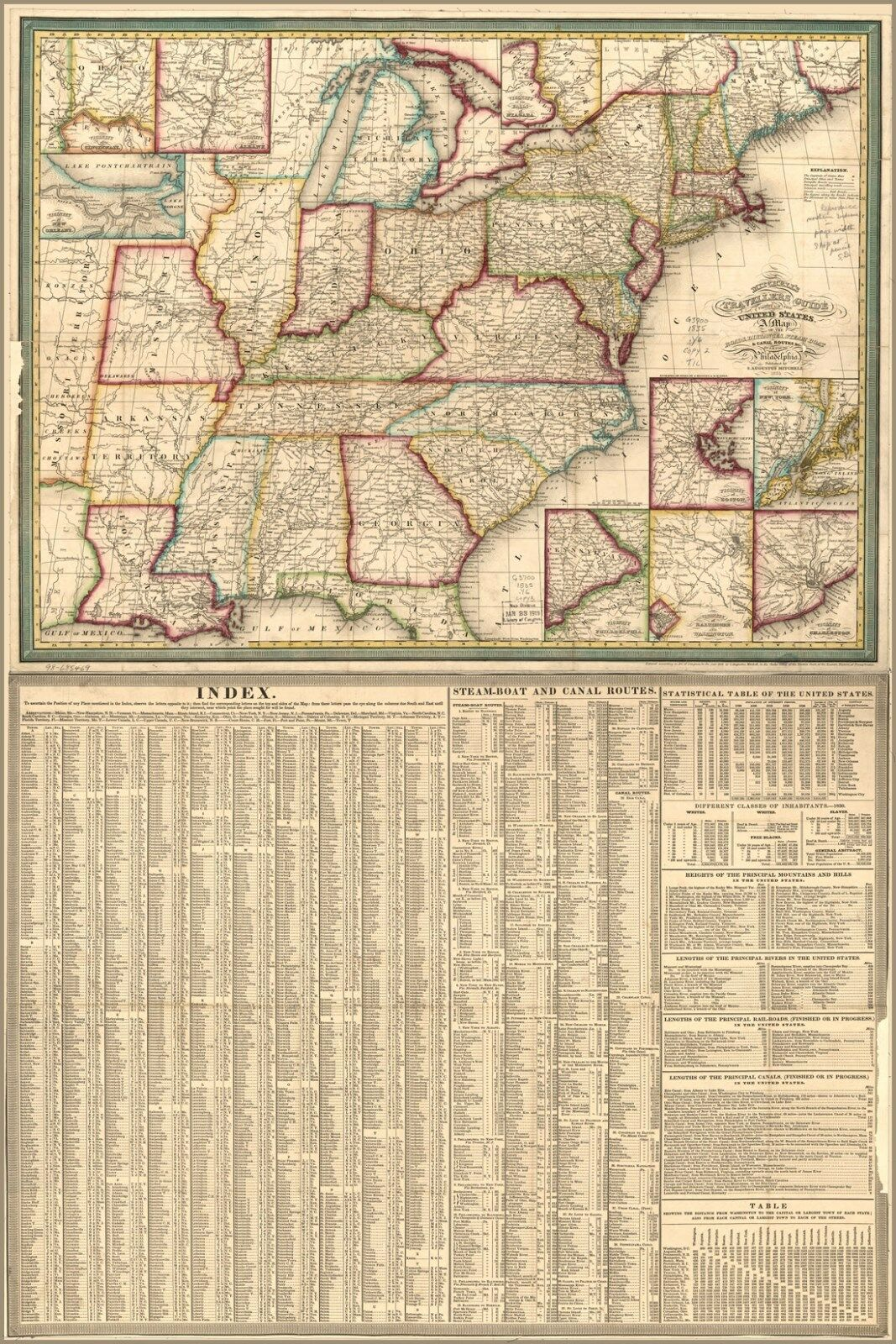 Poster, Many Größes; Travellers Guide Map United States 1835