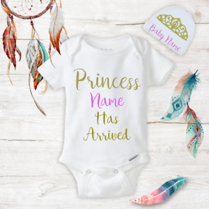 df9975381 Details about Personalized Name Princess Baby Girl Onesies & Hat Baby  Shower Gifts Set Newborn