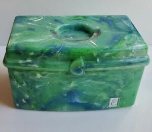 Caboodles-green-blue-white-swirl-makeup-case-plastic-mirror-no-tray-9-x-5-x-5-034