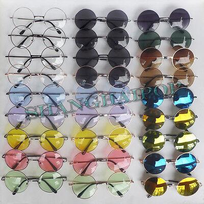 Hippie Round Sunglasses Glasses Mirror/Clear Lens Stylish Hippy Ozzy Lennon 70's
