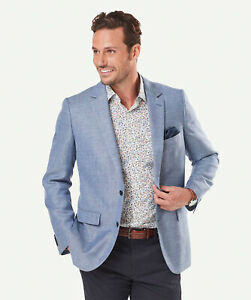 GAZMAN Men's Wool Linen Sports Jacket  Bright Blue