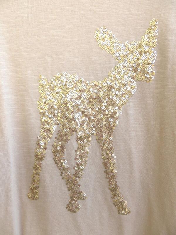 Motiviert Bambi: Langarm-damenshirt Mit Goldenem Bambi Aus Pailletten Gr. 40
