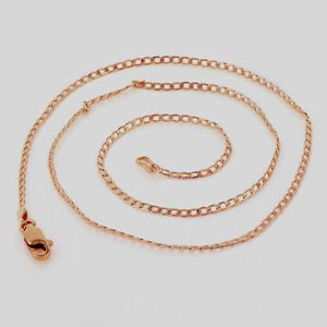 10K-Rose-Gold-GF-Smooth-Link-Chain-Mens-Womens-Ladies-Necklace-45cm-2mm-Wide