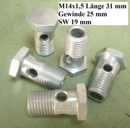 Hohlschraube Gewinde M8x1 M14x1,5 Schrauben Stopfen Stahl Hydraulik Kfz LKW PKW