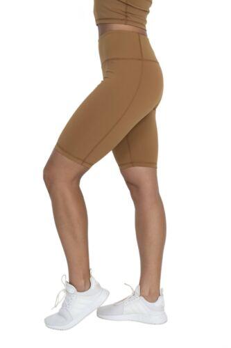 YOGA ADONIS.GEAR- LUSH HIGH RISE WOMENS BIKER TIGHTS GYM TIGHTS LATTE