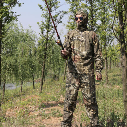 Outdoor Bionic Camouflage Fishing Hunting Jacket Pants Set for Summer Spring