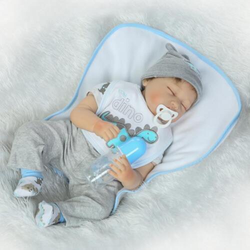 """22/""""Lifelike Sleeping Soft Body Silicone Reborn Baby Doll Newborn Baby Boy Dolls"""