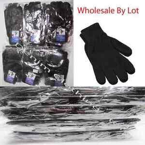 12~ 60pairs WHOLESALE LOTS MEN WOMEN MAGIC WINTER BLACK WARM KNITTED GLOVES