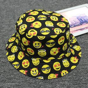 Funny Emoji Print Women Men Cotton Bucket Sun Hat Fishing Camping ... e69c9198901