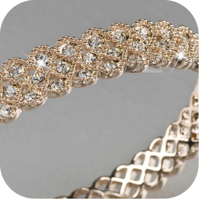 18k ROSE gold gf made with SWAROVSKI crystal bangle bracelet
