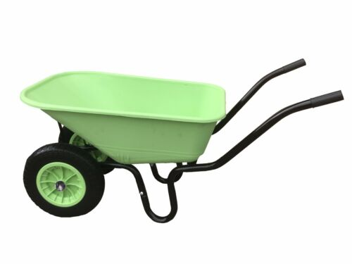 110L TWIN WHEELBARROW WITH PNEUMATIC WHEEL & LIME PLASTIC BODY WHEEL BARROW